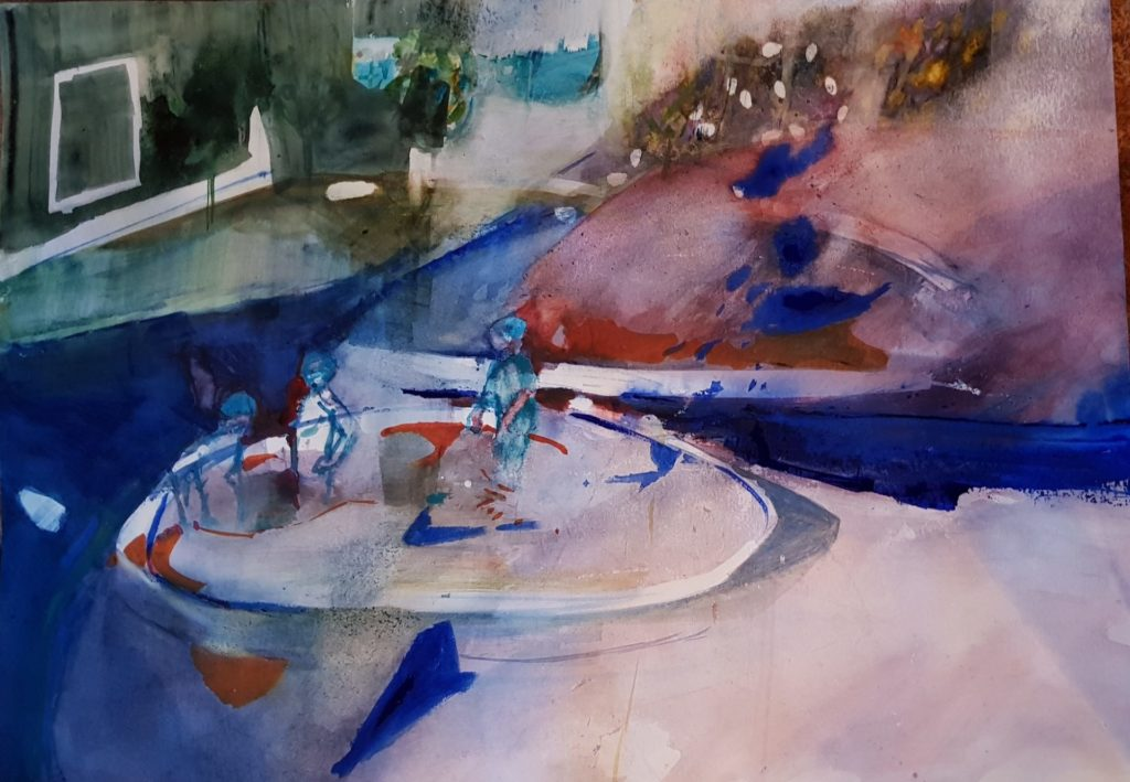 La piscine Variation Aquarelle 65x50cm