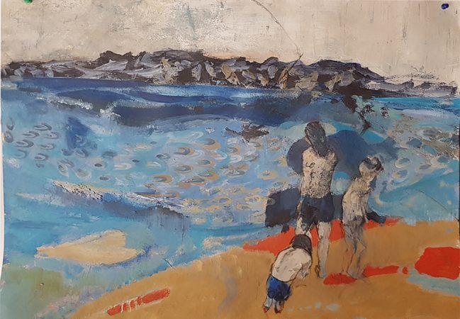 Bords de mer Acrylique sur papier 50x70cm