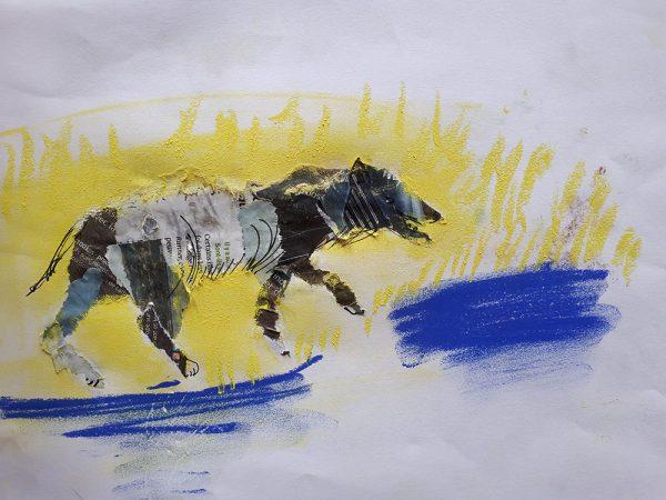 Croquis de loup Collage et pastel 24x32cm