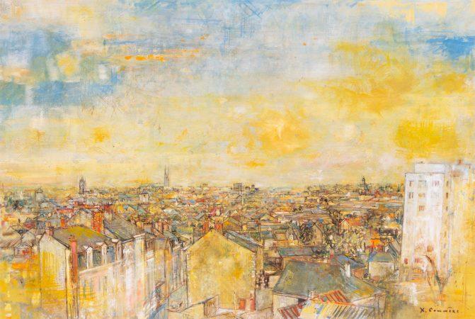Jean Commère , Les toits d'Angers, huile sur toile, 81x130cm