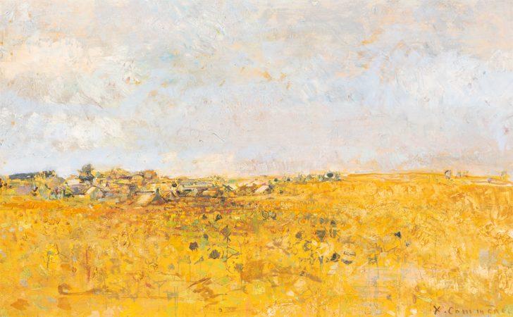 Jean Commere, paysage aux tournesols, huile sur toile, 38x61cm