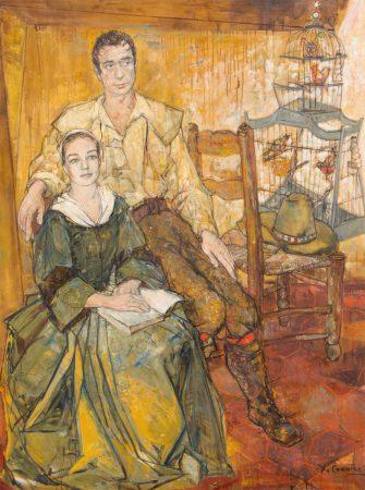 Jean Commere, Portrait d'Yves Montand et Simone Signoret dans les Sorcieres de Salem, 1956, huile sur toile, 195x145cm
