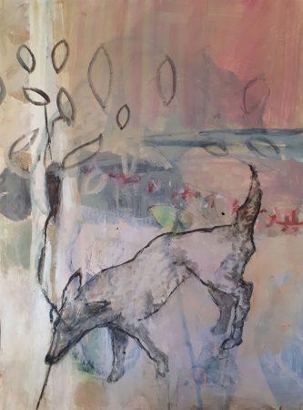 Le loup sort du bois Huile et acrylique sur carton 80x60cm