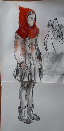 Le petit chaperon rouge Fusain et pastel 130x50cm