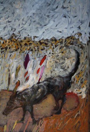 L'ombre du loup Acrylique sur vitre 120x80cm